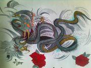 Рисунок дракона, выполнен ручками