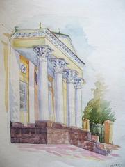 Преображенская церковь акварель