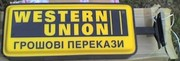 Световая вывеска,  лайтбокс Western Union