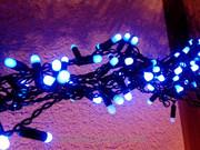 Бахрома 3х0.5м черный ПВХ кабель Уличный синий цвет